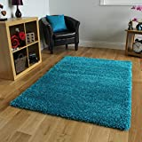 """TEAL BLUE LUXURIOUS THICK SHAGGY RUGS 7 SIZES AVAILABLE 80cmx150cm (2ft7"""" x 4ft11"""")"""