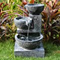 Small Solar Powered Water Feature Granite Effect Cascading Bowls Waterfall with LED light PC121