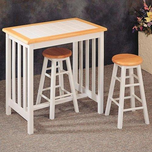 Bar Stool Table Natural White Tile Top Breakfast Set