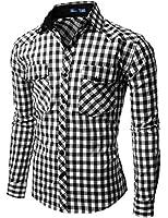 Doublju Mens Gingham Check Shirt