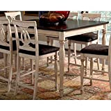 Coaster Home Furnishings Transitional Counter Height Table, Antique White and Merlot