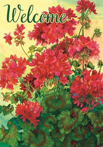Custom Decor Flag - Welcome Red Geraniums