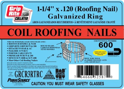 Grip Rite 1 1 4 Inch 15 Electro Galvanized Coil Roofing