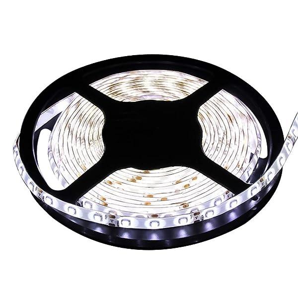 Water-Resistance IP65, 12V Waterproof Flexible LED Strip Light, 16.4ft/5m Cuttable LED Light Strips, 300 Units 3528 LEDs Lighting String, LED Tape(Whi