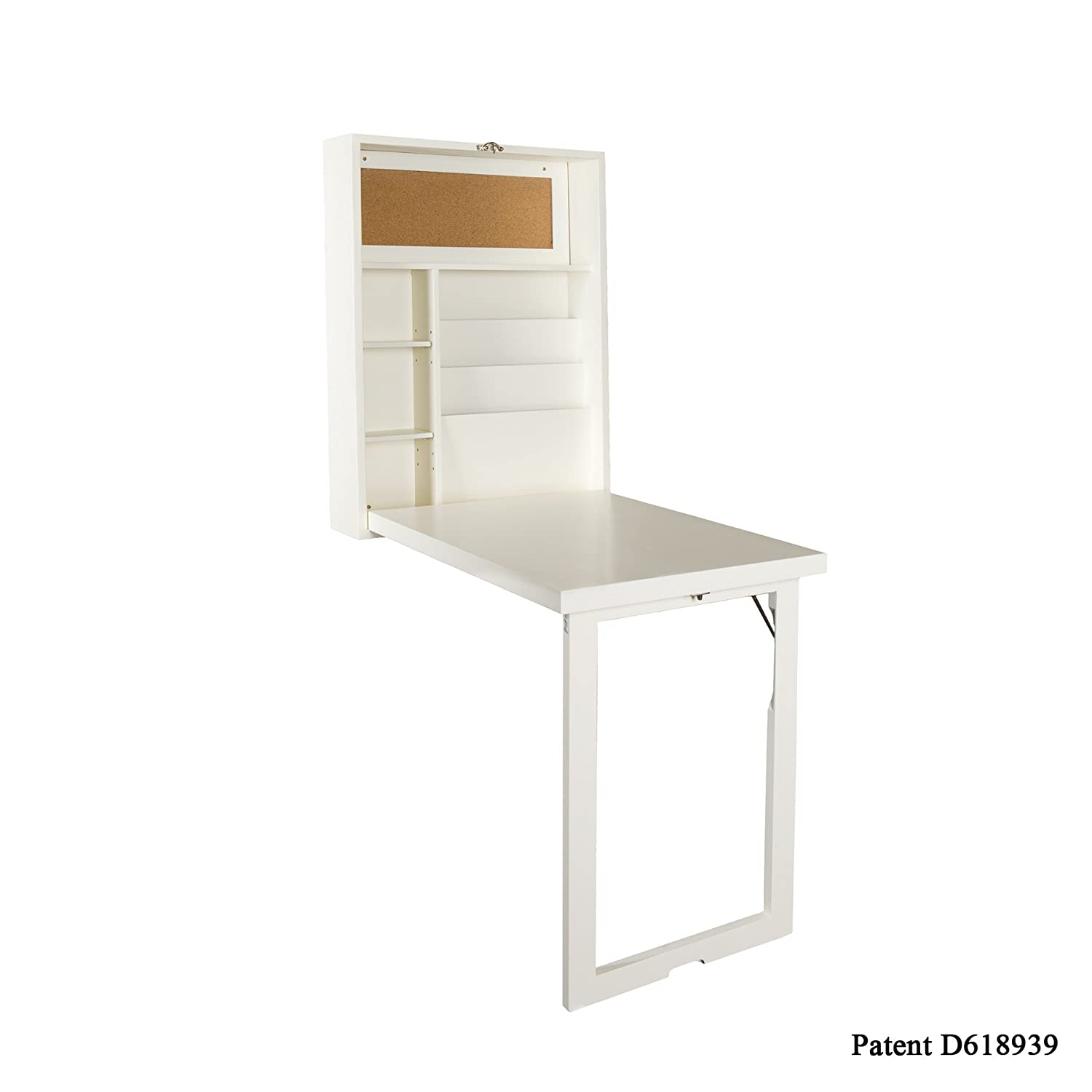 Fold out wall mount convertible desk white kitchen computer table space saver ebay - Folding desks for small spaces concept ...