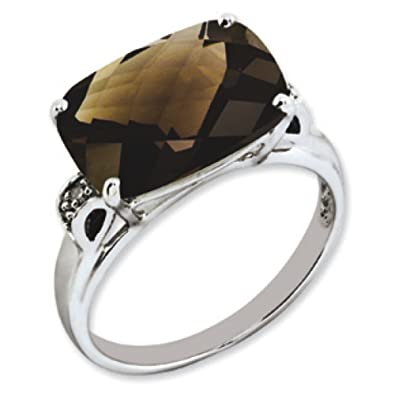 Sterling Silver Smokey Quartz and Rough Diamond Ring - Size R 1/2 - JewelryWeb