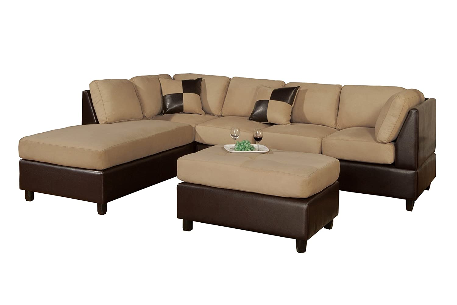 62640 bobkona hungtinton microfiber faux leather 3 piece for Microfiber faux leather 3 piece sectional sofa set