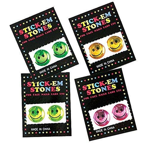 Lot Of 144 Assorted Color Stick On Jewel Type Plastic Rhinestones