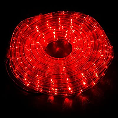 WYZworks Red PRE-ASSEMBLED LED Rope Lights - 2 Wire Christmas Holiday Decoration Indoor / Outdoor Lighting