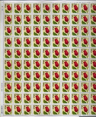 Tulip F Full Sheet of 100 x 29 (F) cent US Postage Stamps #2517
