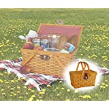 Vintique Wood QI003081 Gingham Lined Picnic Basket with Folding Handles
