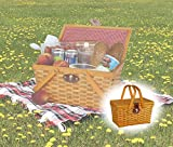 Search : Vintique Wood QI003081 Gingham Lined Picnic Basket with Folding Handles