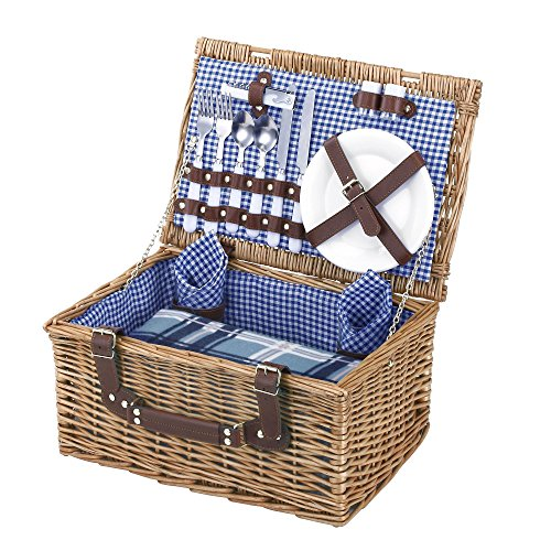 Find Cheap VonShef Deluxe 2 Person Traditional Wicker Picnic Basket Hamper with Cutlery, Plates, Gla...