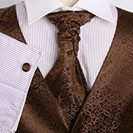 VS2033 Brown Pattern Mens Fashion Vests Cufflinks Hanky Ascot Tie By Y&G