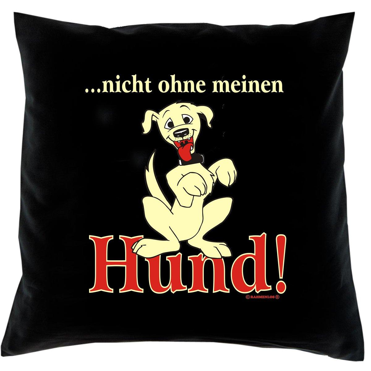 Kissen mit Innenkissen – Hundefreunde – … nicht ohne meinen Hund – mit 40 x 40 cm – in schwarz : ) günstig bestellen