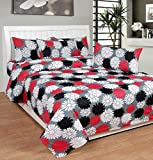 Soni Traders Abstract Floral Print Polycotton Double Bedsheet With 2 Pillow Covers (BST_182)