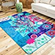 Wolala Home Rural Style Blue Peacock Geometric Flower Printing Bedroom Area Rugs Large (4\'0x5\'6, Blue)