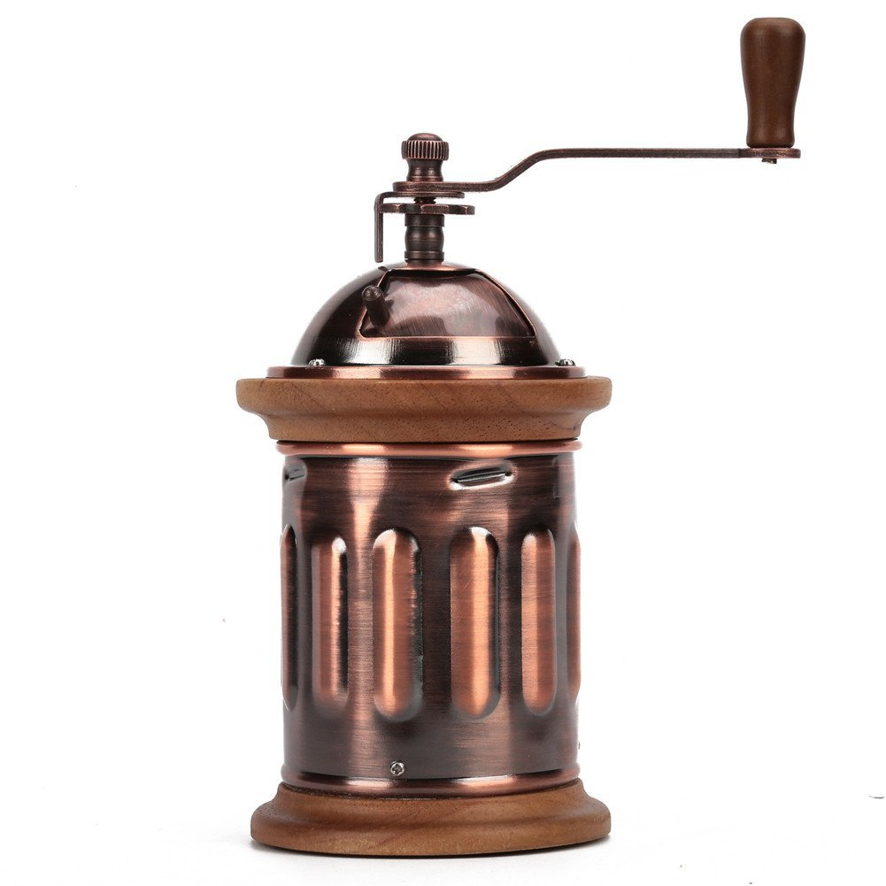 3E Home Manual Canister Stainless steel Burr Coffee Mill Grinder, Stainless Steel Top, and Antique Copper Body 0