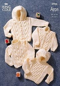 King Cole Baby Sweaters & Jackets Aran Knitting Pattern 2906: Amazon
