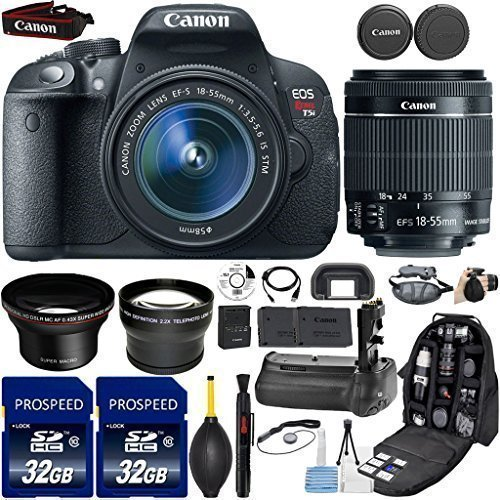 Canon EOS Rebel T5i DSLR Camera with 18-55mm IS STM Lens + Kit Includes, 58mm HD Wide Angle Lens + 2.2x Telephoto Lens + 2Pcs 32GB Commander Card + Battery Grip + Extra Battery + Backpack Case