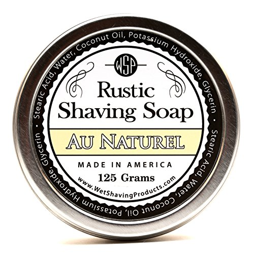 WSP Hypoallergenic Luxury Rustic Shaving Soap 4.4 Oz in Tin Artisan Made in America Using Vegan Natural Ingredients (Au Naturel) (Mens Wet Shave compare prices)