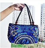 レディース ハンドバッグ 刺繍 トートバッグ エスニック スタイル カジュアル レトロ キャンバスバッグ ショルダー 財布 (Colour10)