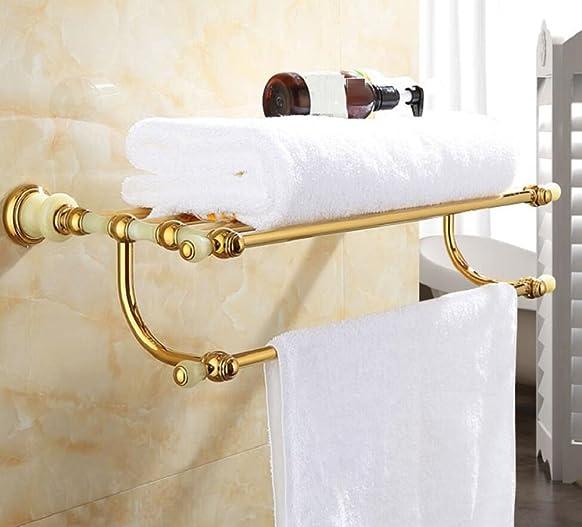 ZC&J Lenzuolo in stile europeo retrò - telaio in rame e telaio in giada naturale - per il portasciugamano decorativo da bagno