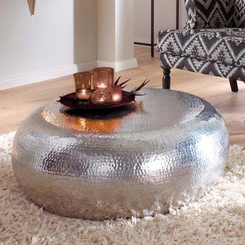 couchtisch vintage look rund aluminium ca 80 cm silber. Black Bedroom Furniture Sets. Home Design Ideas