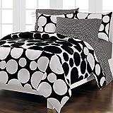 Loft Style Spot The Dot Modern Bedding Comforter Set, Black, Queen