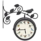 Mark Feldstein & Associates Decorative Outdoor Bird Clock and Weather Thermometer (Color: Multicolor)