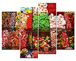 Canval prit painting Food Wall Art Many Kinds of Colorful Sweet Candy 4 Panel Picture on Canvas