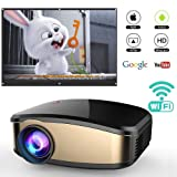 Wireless Wifi Projector for iPhone Android Smartphone, WEILIANTE Portable Mini LED Movie Video Projector Support Full HD 1080P With HDMI USB SD VGA AV for Home Cinema TV Laptop, Upgraded (Color: Black01)