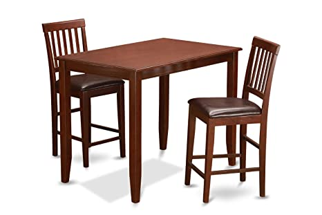 East West Furniture BUVN3-MAH-LC 3-Piece Counter Height Dining Table Set, Mahogany Finish