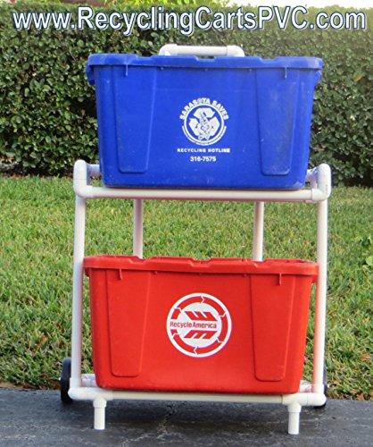 Recycling Cart | PVC Recycle Caddy | Wide Design! (Recycling Trolley compare prices)