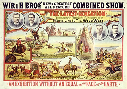 "POSTER A3 New Zealand Wirth Bro[ther]s' new & greatest all feature combined show the latest sensation, direct from America; prairie life in the wild west. ""Star"" Steam litho., Auckland, N.Z."