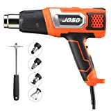 Heat Gun JOSO Professional BS1363 certification Hot Air Gun 2 Temperature Modes 350°C (1000W) and 600°C (2000W) Max Wind Speed 500L/min with 5 Nozzle Set for Stripping Paint, Soldering Pipes, Shrinkin