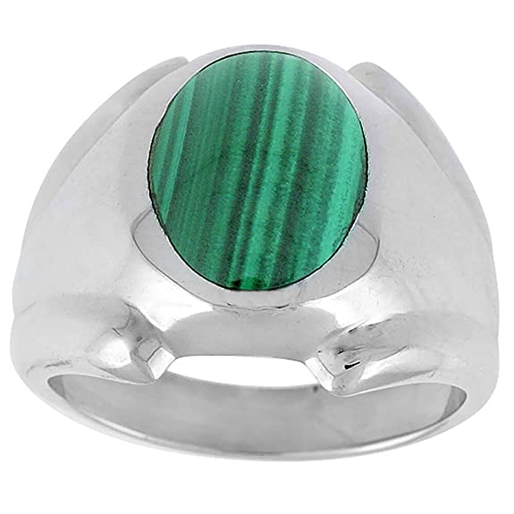 Sterling Silver Oval Malachite Men's Ring 18 mm