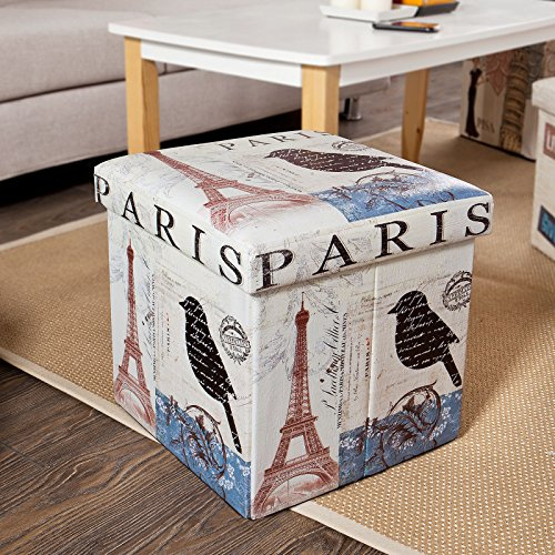 SoBuy Storage Ottoman, Folding Seat Box with Removable Cover, Paris Eiffel Tower Pattern, FSS34-K-FR, 38 x 38 x 38 cm (Paris Storage Box compare prices)