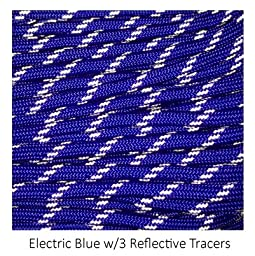 Tactical 550 Paracord - Electric Blue with 3 Reflective Tracers , 100 FT