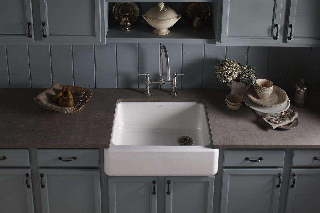 Kohler K 6487 Whitehaven Cast Iron Apron Front Single Basin Kitchen Sink  With Tall Apron