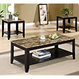 Coaster 3pc Coffee Table & End Table Set Faux Marble Top Espresso Finish