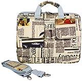 14 inch Newspaper Pattern Laptop Carry Case / Shoulder Messenger Bag / Briefcase for Macbook, Acer, Dell, HP, Sony Notebook