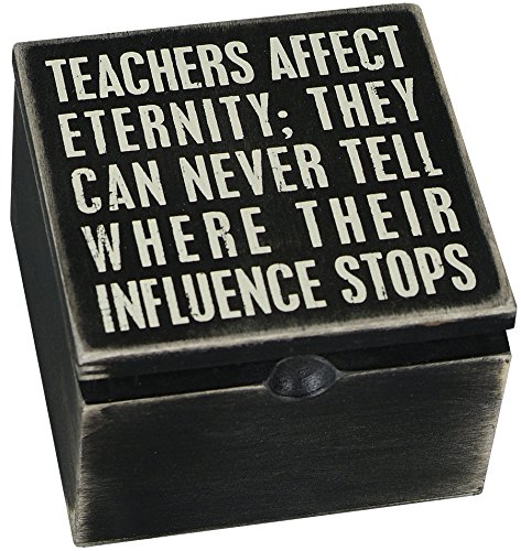 Primitives by Kathy Sign Hinged Box, Teachers Affect, 4 by 4-Inch