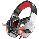 BENGOO V-4 Gaming Headset for Xbox One, PS4, PC, Controller, Noise Cancelling Over Ear Headphones Mic, LED Light Bass Surround Soft Memory Earmuffs for Computer Laptop Mac Nintendo Switch -Red (Color: Red, Tamaño: RED)