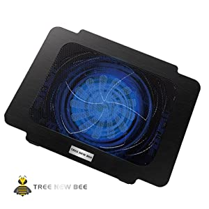Tree New Bee TBR-K16 Laptop Cooling Pad - Fits 14 & Smaller laptops & notebooks - Strong & Durable ABS & Metal Mesh - Fits Easily on Your Lap or Any Flat Surface - Keeps Your Laptop Cool (Color: 1 Fan)