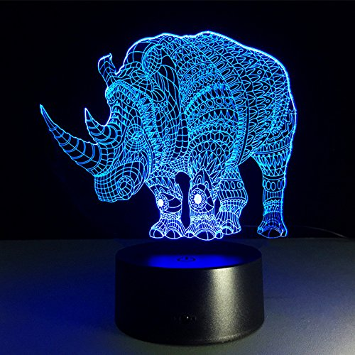 SOKOS Nightlight, 3D visualization Illusion Multi-colored Change USB Touch Button LED Desk Lamp, Table Light for Room Decorative or Gifts for Friends/Kids (Rhinoceros)