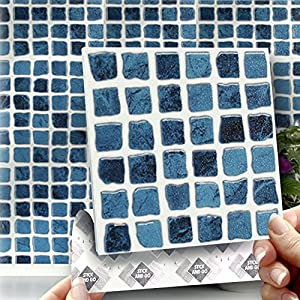 Blue mosaic box of 8 tiles 6x6 solid peel for Solid color peel and stick wallpaper