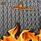 550 Firecord Paracord Parachute Cord Emergency Fire Starter Tactical Gear - Great for Crafting Survival Kit Zipper Pulls Handles Keychains Bracelets Lanyards Outdoor Lashing