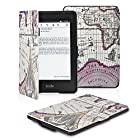 OMOTON Amazon Kindle Paperwhite Case Cover -- The Thinnest and Lightest PU leather Case Cover for Kindle Paperwhite (Both 2012 and 2013 versions) with 6 Display and Built-in Light, Rose Red Map Pattern