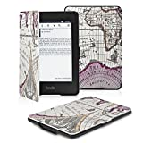 "OMOTON Amazon Kindle Paperwhite Case Cover -- The Thinnest and Lightest PU leather Case Cover for Kindle Paperwhite (Both 2012 and 2013 versions) with 6"" Display and Built-in Light, Rose Red Map Pattern"